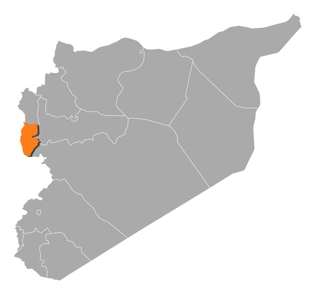 western asia: Political map of Syria with the several governorates where Tartus is highlighted.