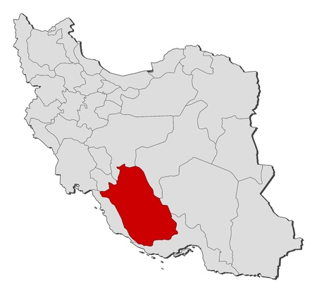 Political map of Iran with the several provinces where Fars is highlighted. Illustration