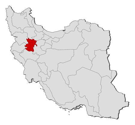 western asia: Political map of Iran with the several provinces where Hamedan is highlighted.