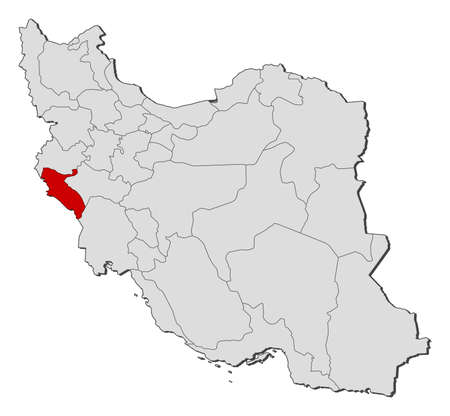 western asia: Political map of Iran with the several provinces where Ilam is highlighted.