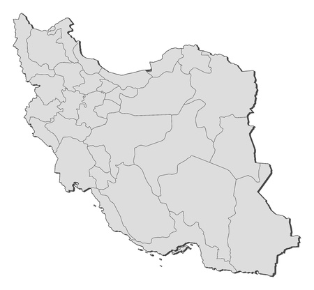 southwestern asia: Political map of Iran with the several provinces.