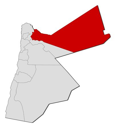 western asia: Political map of Jordan with the several governorates where Mafraq is highlighted.