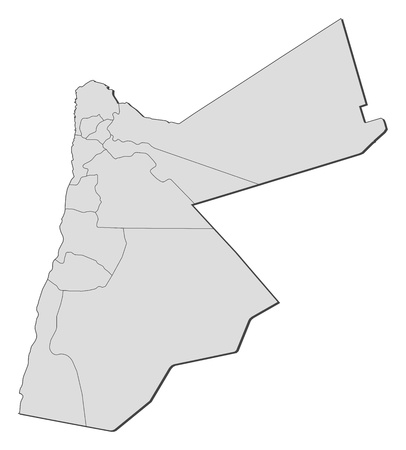 western asia: Political map of Jordan with the several governorates. Illustration
