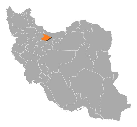 southwestern asia: Political map of Iran with the several provinces where Alborz is highlighted.
