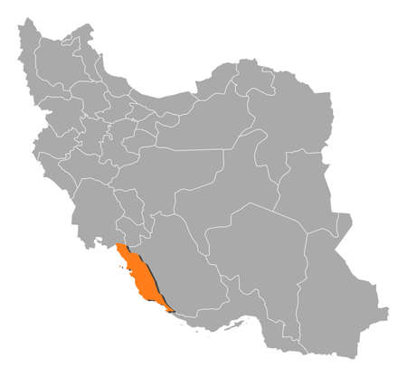 southwest asia: Political map of Iran with the several provinces where Bushehr is highlighted.