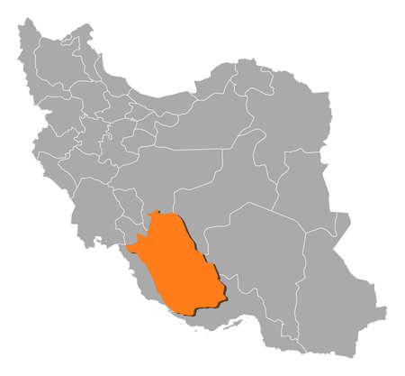 fars: Political map of Iran with the several provinces where Fars is highlighted. Illustration