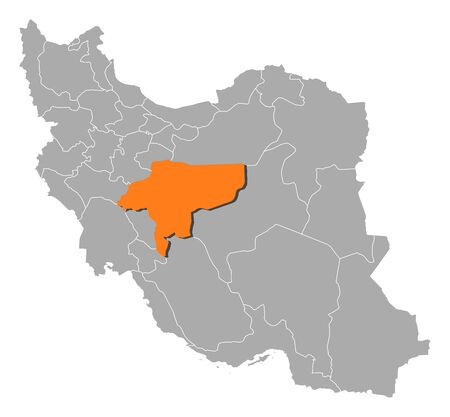 isfahan: Political map of Iran with the several provinces where Isfahan is highlighted.