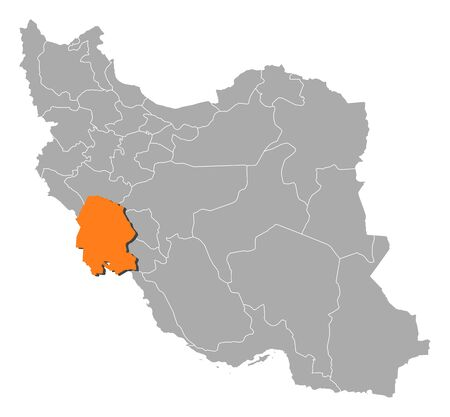 western asia: Political map of Iran with the several provinces where Khuzestan is highlighted. Illustration