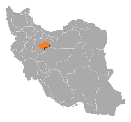 southwestern asia: Political map of Iran with the several provinces where Qom is highlighted.