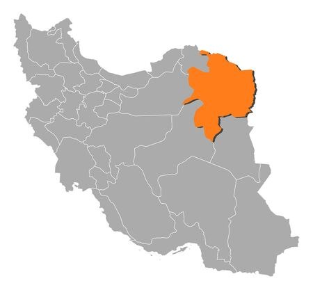 southwestern asia: Political map of Iran with the several provinces where Razavi Khorasan is highlighted.