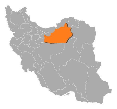 western asia: Political map of Iran with the several provinces where Semnan is highlighted. Illustration