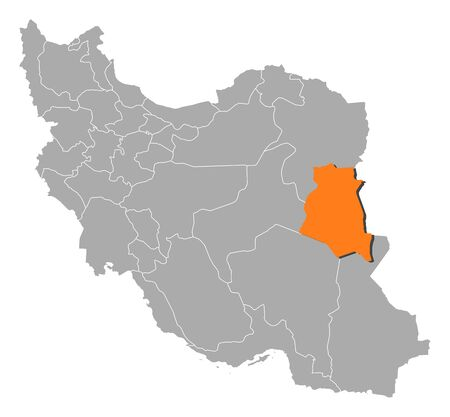 western asia: Political map of Iran with the several provinces where South Khorasan is highlighted.