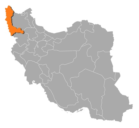 southwestern asia: Political map of Iran with the several provinces where West Azerbaijan is highlighted.