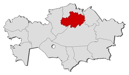 kazakhstan: Political map of Kazakhstan with the several regions where Akmola is highlighted.