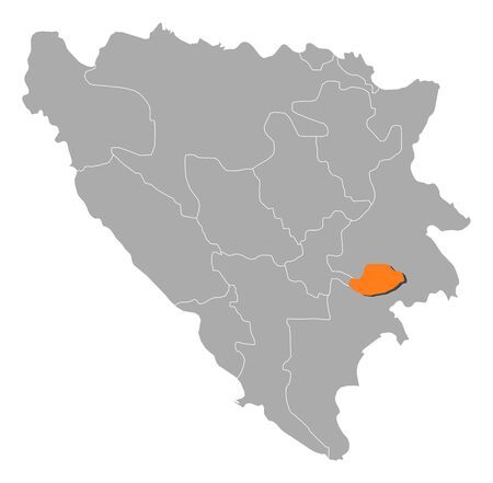bosnian: Political map of Bosnia and Herzegovina with the several cantons where Bosnian Podrinje is highlighted.