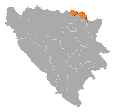 cantons: Political map of Bosnia and Herzegovina with the several cantons where Posavina is highlighted. Illustration