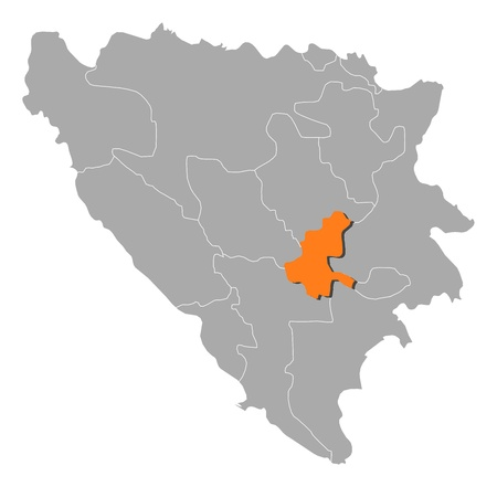 Political map of Bosnia and Herzegovina with the several cantons where Sarajevo is highlighted. Vector