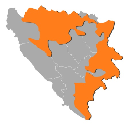 republika: Political map of Bosnia and Herzegovina with the several cantons where Republika Srpska is highlighted.