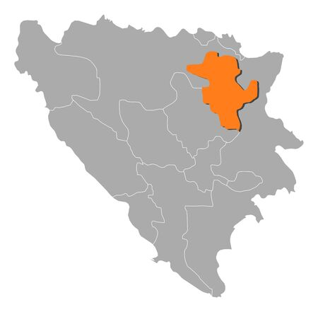 cantons: Political map of Bosnia and Herzegovina with the several cantons where Tuzla is highlighted.