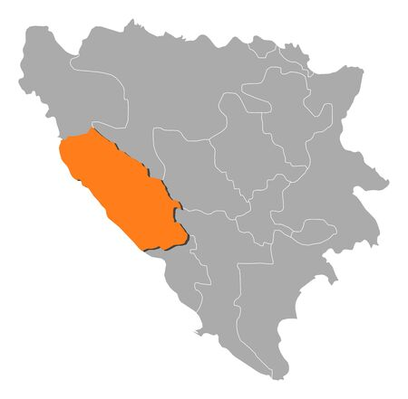 bosna: Political map of Bosnia and Herzegovina with the several cantons where Canton 10 is highlighted.