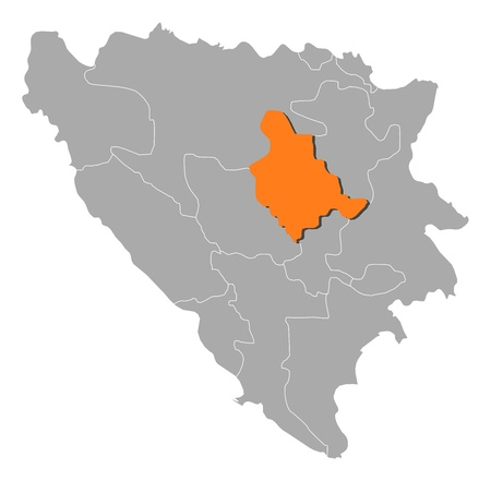 cantons: Political map of Bosnia and Herzegovina with the several cantons where Zenica-Doboj is highlighted.