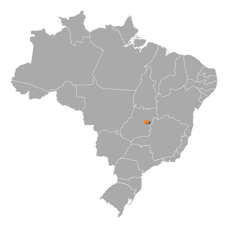 Political map of Brazil with the several states where Brazilian Federal District is highlighted. Vector