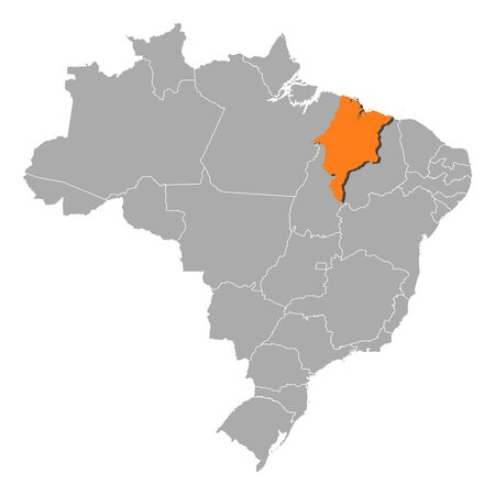 Political map of Brazil with the several states where Maranh�o is highlighted. Vector
