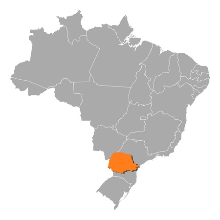 Political map of Brazil with the several states where Paran� is highlighted. Vector