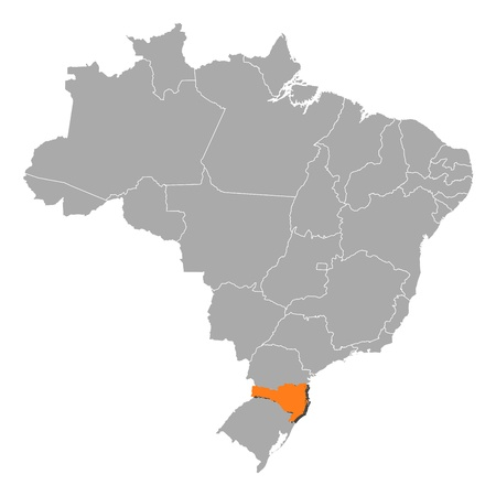 Political map of Brazil with the several states where Santa Catarina is highlighted. Vector