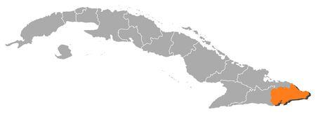 guantanamo: Political map of Cuba with the several provinces where Guant�namo is highlighted.