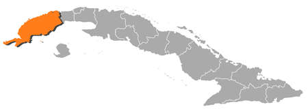 Political map of Cuba with the several provinces where Pinar del Río is highlighted. Stock Vector - 11392796