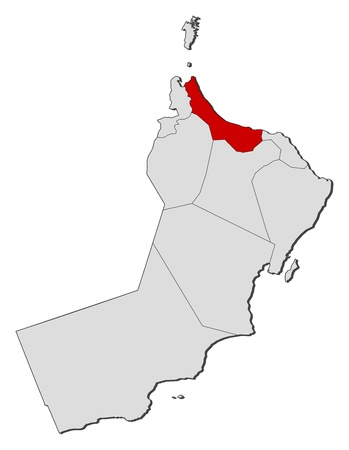 al: Political map of Oman with the several regions and governorats where Al Batinah is highlighted.