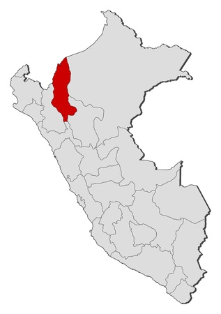 amazonas: Political map of Peru with the several regions where Amazonas is highlighted.