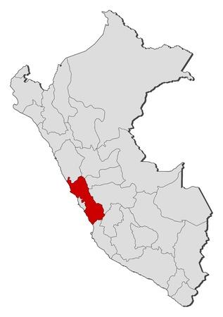 mapa del peru: Mapa pol�tico del Per� con las diversas regiones en donde se destaca Lima.