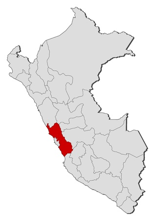 lima region: Political map of Peru with the several regions where Lima is highlighted.