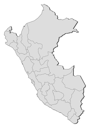 general map: Political map of Peru with the several regions. Illustration