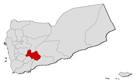 western asia: Political map of Yemen with the several governorates where Al Bayda is highlighted.