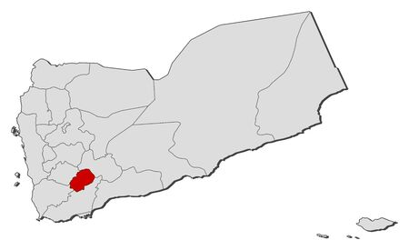 western asia: Political map of Yemen with the several governorates where Ad Dali is highlighted.