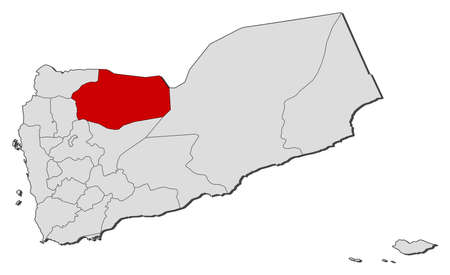 southwestern asia: Political map of Yemen with the several governorates where Al Jawf is highlighted.