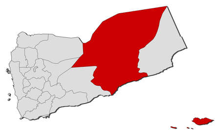 western asia: Political map of Yemen with the several governorates where Hadhramaut is highlighted.