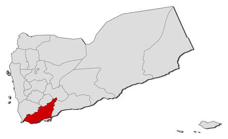 southwestern asia: Political map of Yemen with the several governorates where Lahij is highlighted.