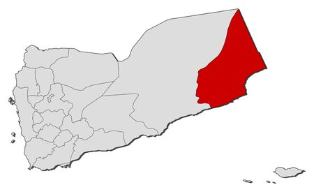 al: Political map of Yemen with the several governorates where Al Mahrah is highlighted. Illustration