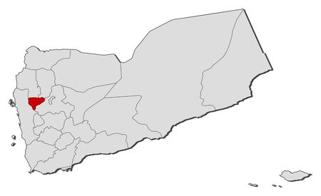 western asia: Political map of Yemen with the several governorates where Al Mahwit is highlighted. Illustration