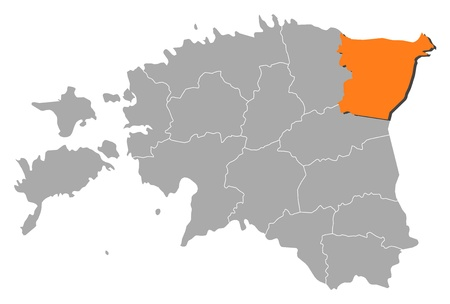 counties: Political map of Estonia with the several counties where HIda-Viru is highlighted.