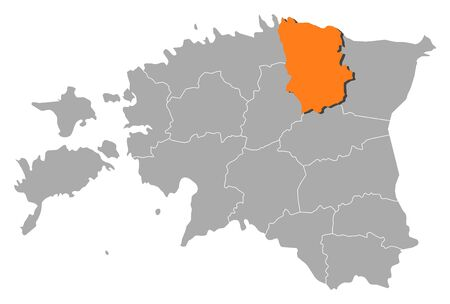 ne: Political map of Estonia with the several counties where Lääne-Viru is highlighted.