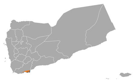 western asia: Political map of Yemen with the several governorates where Adan is highlighted. Illustration