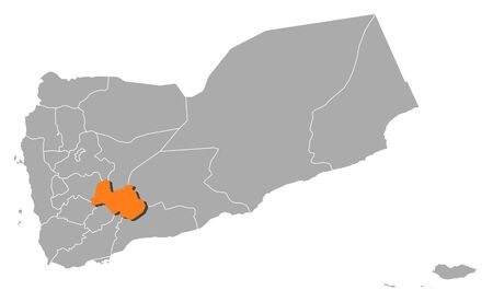 al: Political map of Yemen with the several governorates where Al Bayda is highlighted.