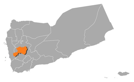 Political map of Yemen with the several governorates where Dhamar is highlighted. Çizim