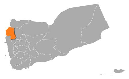 southwestern asia: Political map of Yemen with the several governorates where Hajjah is highlighted. Illustration