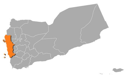 southwestern asia: Political map of Yemen with the several governorates where Al Hudaydah is highlighted.